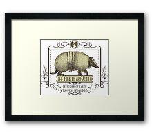 Funny animal mighty armadillo vintage super hero Framed Print