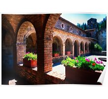 Courtyard of a Napa Valley Tuscan Castle Poster