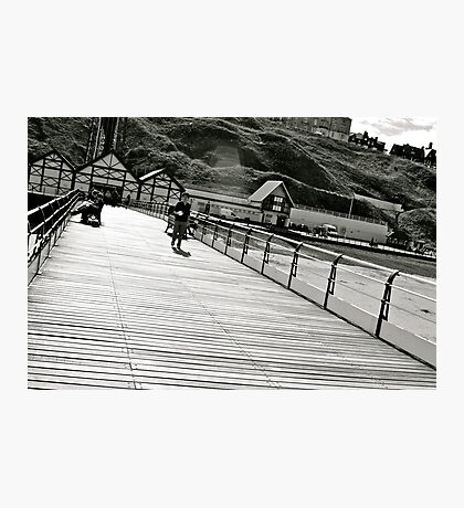 Saltburn Pier black and white Photographic Print