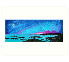 Moon Light Over Rum And Sanna Bay, Ardnamurchan Peninsula.40 Art Print