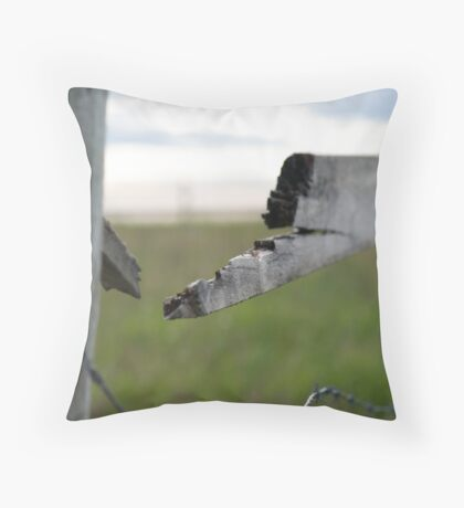 Broken Fence ,Stormy Skies Throw Pillow