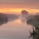 Mist on the River Brue at Glastonbury by Robin Whalley