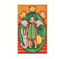 Green easter angel Art Print