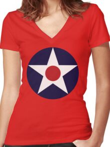 1941 US Air Corps Star Women's Fitted V-Neck T-Shirt