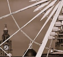 Liver Building Clock Through Wheel. by Stan Owen