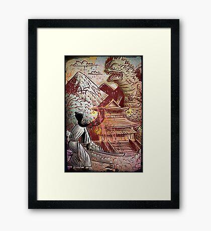 Kaiju, Samurai, Art, Monster, Godzilla, drawing, ultraman, gamera, japanese, sci fi, horror, science fiction, japan, sword, joe badon Framed Print