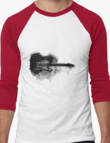 black and white electric guitar Men's Baseball ¾ T-Shirt