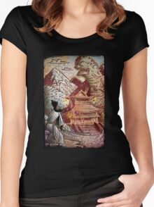 Kaiju, Samurai, Art, Monster, Godzilla, drawing, ultraman, gamera, japanese, sci fi, horror, science fiction, japan, sword, joe badon Women's Fitted Scoop T-Shirt
