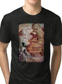 Kaiju, Samurai, Art, Monster, Godzilla, drawing, ultraman, gamera, japanese, sci fi, horror, science fiction, japan, sword, joe badon Tri-blend T-Shirt