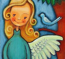 Blond angel with two blue birds by AngelsTrail