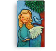 Blond angel with two blue birds Canvas Print