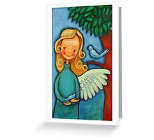 Blond angel with two blue birds Greeting Card