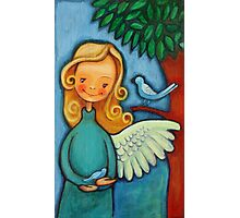 Blond angel with two blue birds Photographic Print