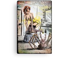 Pin Up, Girl, The Thing, Art, Print, Spider, Head, 50's, Elvgrin, Elvgren, John Carpenter, Dressing Room, Joe Badon, illustration, drawing, sexy, horror Metal Print