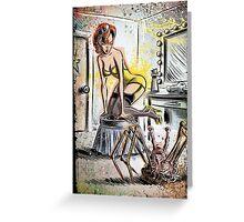Pin Up, Girl, The Thing, Art, Print, Spider, Head, 50's, Elvgrin, Elvgren, John Carpenter, Dressing Room, Joe Badon, illustration, drawing, sexy, horror Greeting Card
