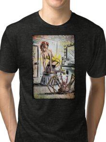 Pin Up, Girl, The Thing, Art, Print, Spider, Head, 50's, Elvgrin, Elvgren, John Carpenter, Dressing Room, Joe Badon, illustration, drawing, sexy, horror Tri-blend T-Shirt