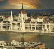Budapest parliament with dramatic sky Sticker