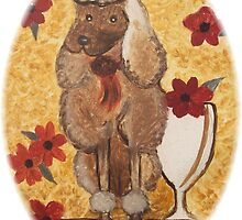 Poodle with Wine Glass w/o border by Ginger Lovellette