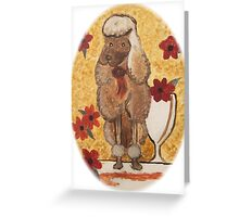 Poodle with Wine Glass w/o border Greeting Card