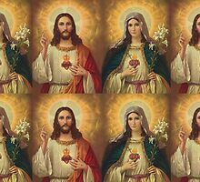 sacred heart of jesus and saint mary by Healinglove