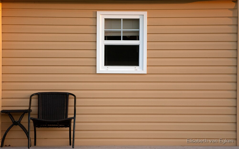 A Table, seat, window and siding by Elisabeth van Eyken