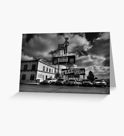 Route 66 - The Big Texan 002 BW Greeting Card
