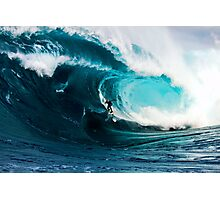A surfer takes on Shipstern Bluff Photographic Print