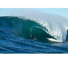 Marti Paradisis in a huge barrel Photographic Print