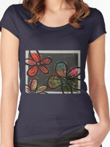Gray Blossoms Women's Fitted Scoop T-Shirt