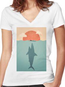 Shark Attack Women's Fitted V-Neck T-Shirt