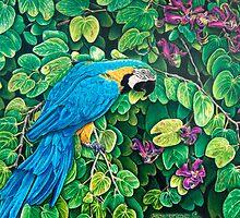 Blue-Gold Macaw Among the Leaves by kwoolingtonart