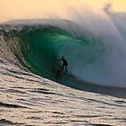 Sandy Ryan in a massive barrel at Shipstern Bluff in Tasmania by andychiz