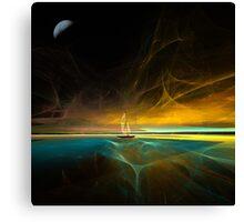 Sailing under the magical moon Canvas Print