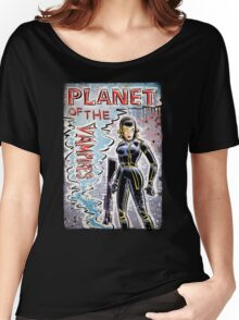 Planet of the Vampires, vampire, art, alien, aliens, sci fi, science fiction, horror, space, girl, Terrore, nello, spazio, joe badon, mario bava, Evi Marandi, blaster, gun Women's Relaxed Fit T-Shirt
