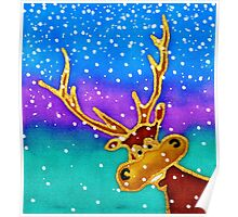 colourful cartoon Silly Stag in the snow. Poster