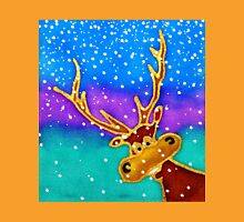 colourful cartoon Silly Stag in the snow. Unisex T-Shirt