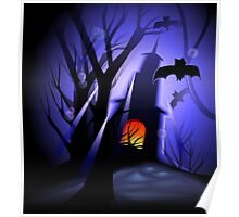 Halloween with bats around it Poster