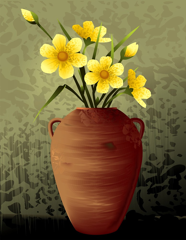 Charming flower vase with wonderful flowers	 by tillydesign