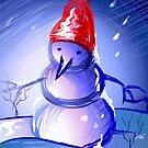 Snow man dancing in an enchanting mood	 by tillydesign