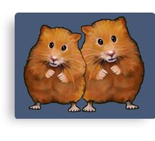 Hamster Couple on Blue, Original Illustration Canvas Print