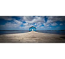 Blue Boat House Photographic Print