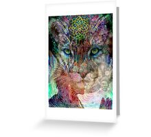 Cougar and the dream catcher Greeting Card