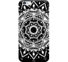 New Beginnings Mandala - White on Black iPhone Case/Skin