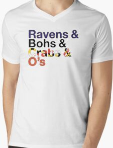Helvetica Maryland Design Mens V-Neck T-Shirt