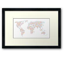 Poka-Dotted World Map Framed Print