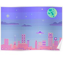night sky with ufo and moon Poster