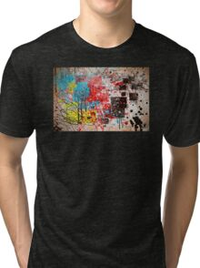 Abstract, Splatter, Paint, Print, Thrown paint, jackson pollock, painting, art, picture, poster, drip, aged, expressionist, pop art, liquid, action, joe badon Tri-blend T-Shirt