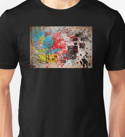 Abstract, Splatter, Paint, Print, Thrown paint, jackson pollock, painting, art, picture, poster, drip, aged, expressionist, pop art, liquid, action, joe badon Unisex T-Shirt