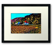Wisconsin Fall Farm in Fractalius Framed Print