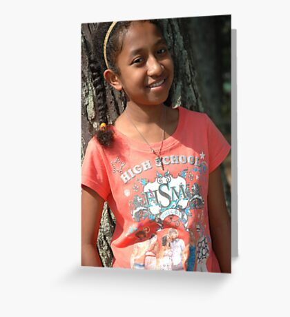 little girl stand up beside the tree Greeting Card